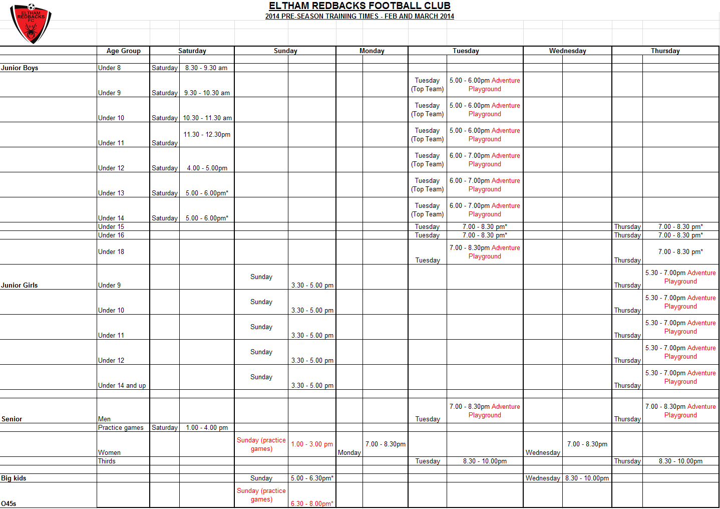 2014-02-17 pre-season training schedule