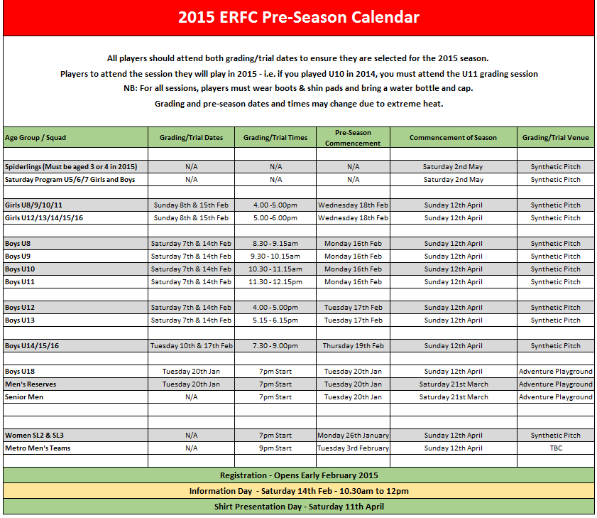 Pre-season calendar 2015