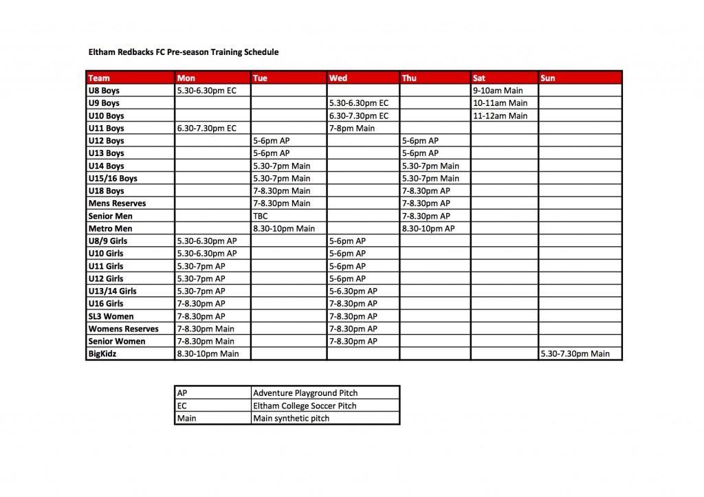 ERFC Pre-season Training Schedule 2016